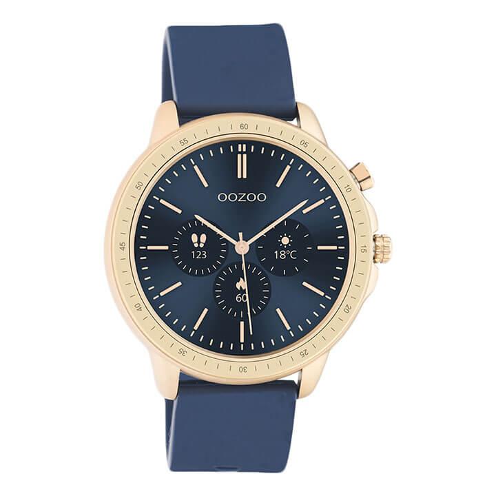 OOZOO Smartwatch Rubber Blauw/Rosé Goud | Q00326