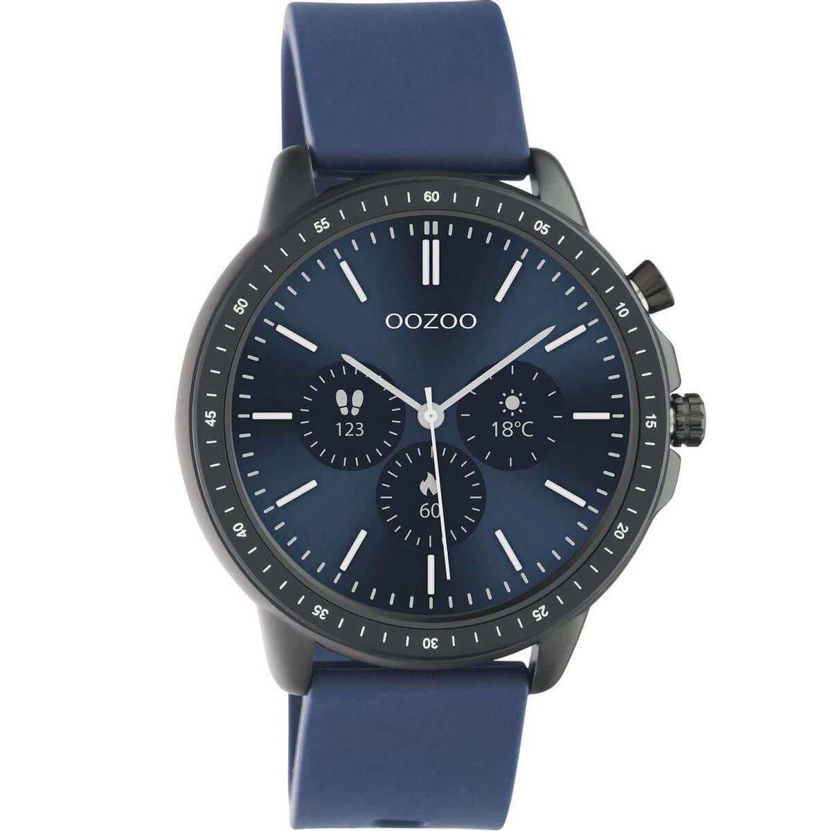 OOZOO Smartwatch Rubber Blauw/Zwart | Q00332