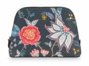 Pip Studio Toilettas Cosmetic Bag Triangle Medium Flower Festival Dark Blue