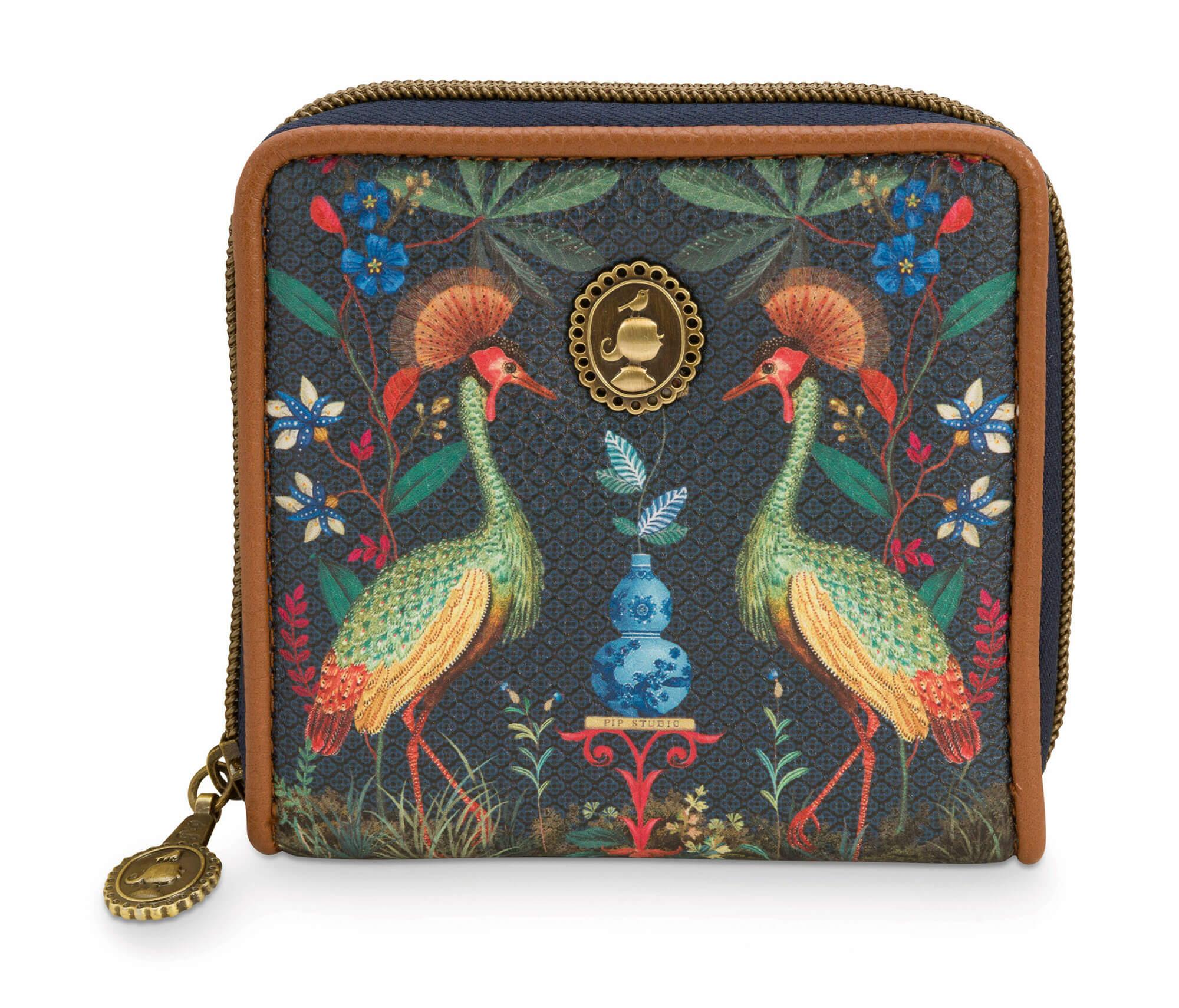 Pip Studio Portemonnee Wallet Square Flirting Birds Dark Blue