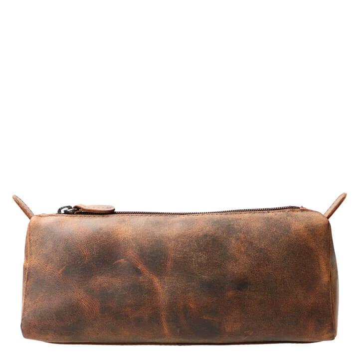 Leather Design Leren Make Up / Pen Etui M Hunter Bruin