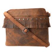 Leather Design Schoudertas met Franjes Hunter Bruin