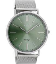 OOZOO Timepieces Horloge Zilver/Groen | C8175
