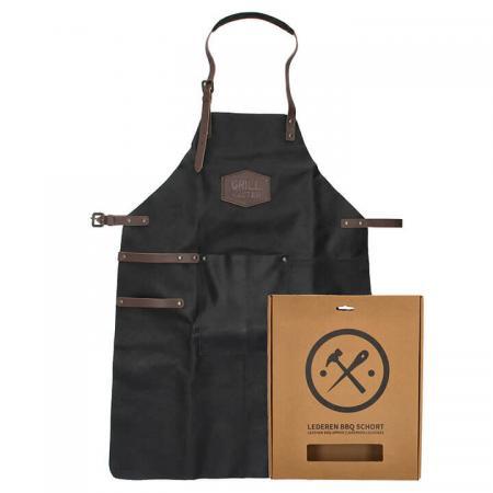 Hide & Stitches Lederen Kook/BBQ Schort Zwart