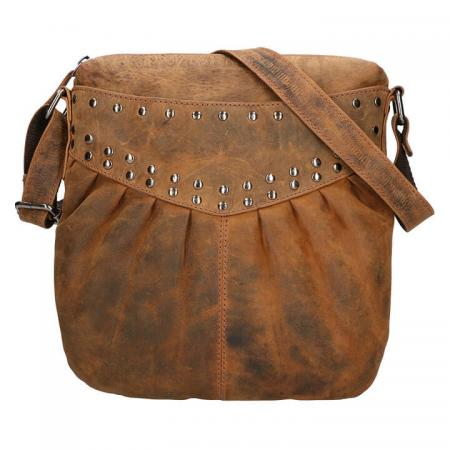 Leather_Design_Schoudertas_Studs_Hunter_UR 661_Bruin_1