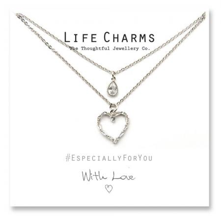 Life Charms - YY14 - Necklace 2 layer CZ Silver Heart + Teardrop
