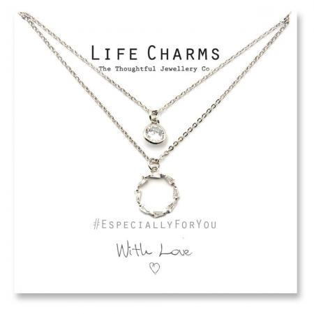 Life Charms - YY15 - Necklace 2 layer CZ Silver Forever Circle