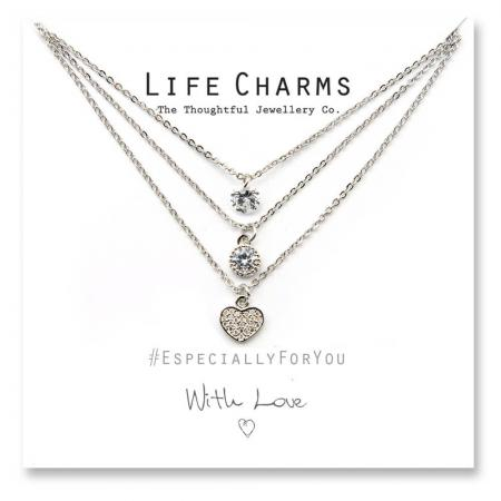 Life Charms - YY17 - Necklace 3 layer Heart Waterfall