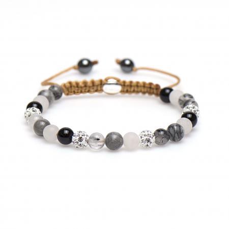 Karma Armband Spiral Cherry Blossom White Crystal