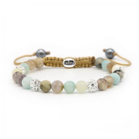 Karma Armband Spiral Green Lilly White Crystal