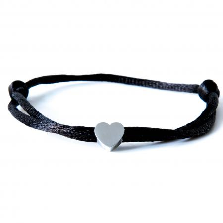 Caviar Collection Armband / Enkelbandje Neon Black X Heart Silver