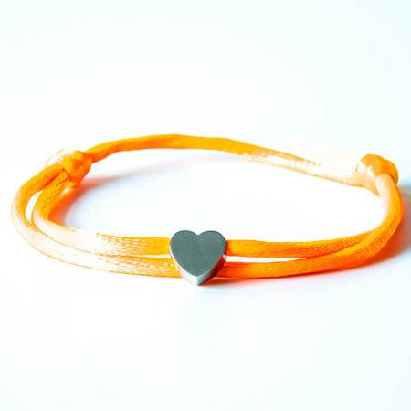 Caviar Collection Armband Neon Orange X Heart Silver