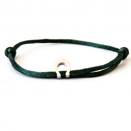 Caviar Collection Armband / Enkelbandje Neon Dark Green X Horseshoe Silver