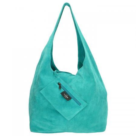 Charm London Suède Shopper met Etui Aqua Blauw