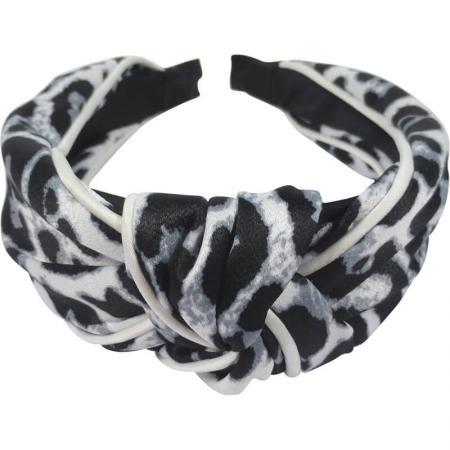 Diadeem Leopard Zwart/Wit met Knoop 4 cm