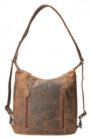 Leather Design Rugzak / Shopper Hunter Bruin