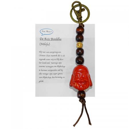 De Reis Boeddha Sleutelhanger Rood