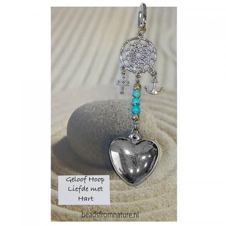 Gelukshanger Geloof Hoop en Liefde Turquoise
