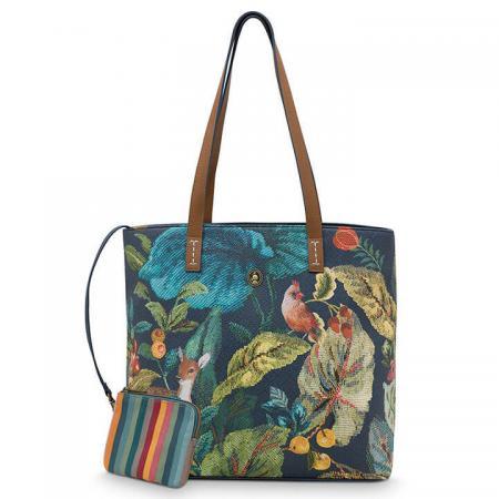 Pip Studio Shopper Medium met Etui Winter Foliage Blue