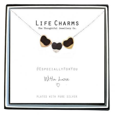 Life Charms Ketting met Giftbox 3 Hearts