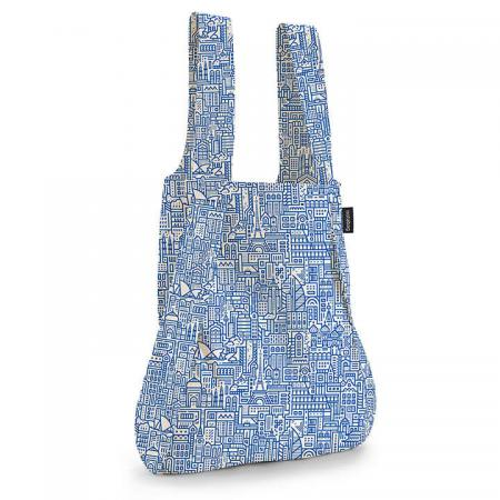 Notabag Rugzak / Shopper Hello World Raw/Blauw