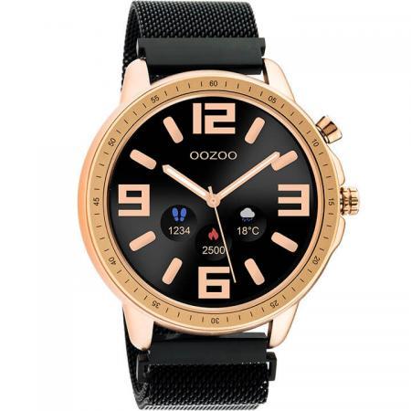 OOZOO Smartwatch Mesh Zwart/Rosé Goud   Q00308
