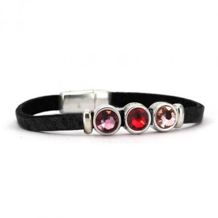 Qoss Zwarte Armband Milo Swarovski Paars/Rood