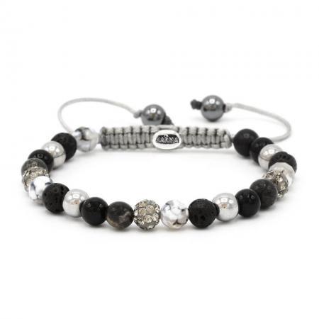 Karma Armband Spiral Full Moon Grey Crystal