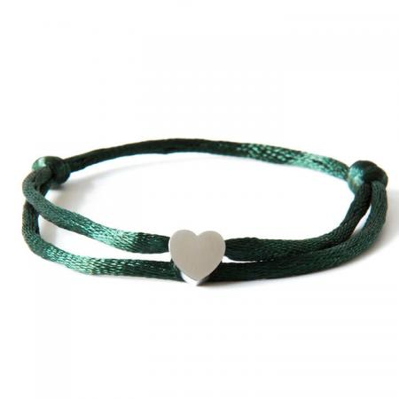 Caviar Collection Armband Neon Dark Green X Heart Silver