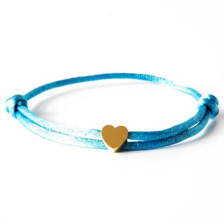 Caviar Collection Armband Neon Light Blue X Heart Silver
