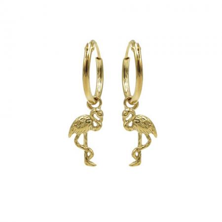 Karma Oorringen Hoops Flamingo Goud