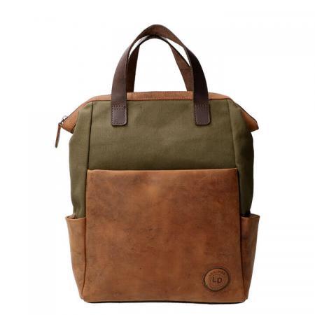 Leather Design Rugzak 14'' Leer met Canvas