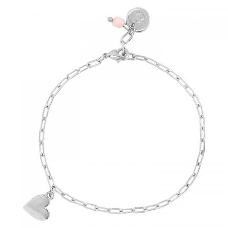 &Anne Armband - Pink Bead - Heart Zilver