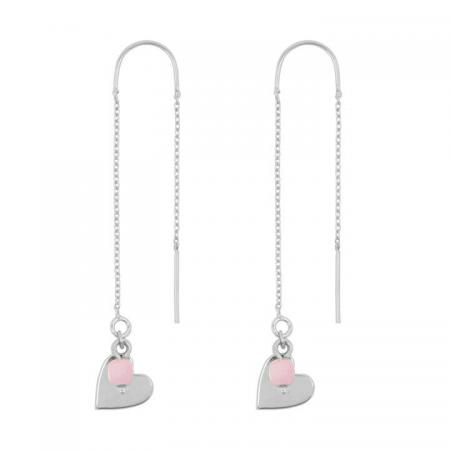 &Anne Doortrek Oorbellen - Heart & Pink - Zilver
