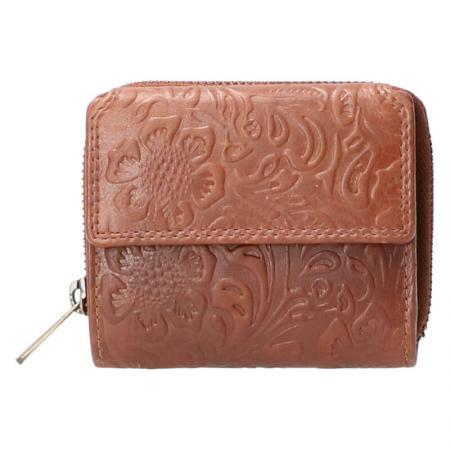 Leather Design Portemonnee Flower Bruin