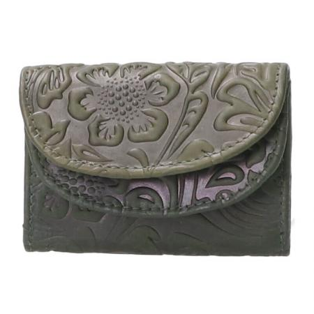 Leather Design Compacte Portemonnee Flower Groen