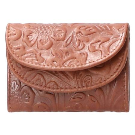 Leather Design Compacte Portemonnee Flower Bruin