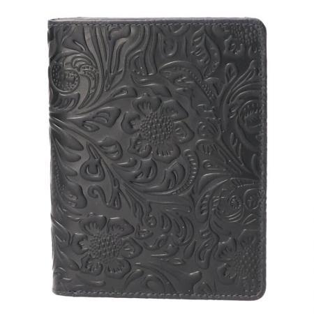 Leather Design Portefeuille Flower Navy Blauw