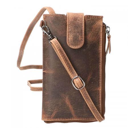 Leather Design Phone Bag Telefoontasje Hunter Bruin