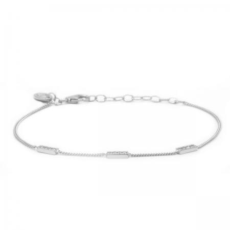 Karma Armband 3 Zirconia Rectangles Zilver
