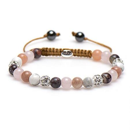Karma Armband Spiral Beady Blush White Crystal