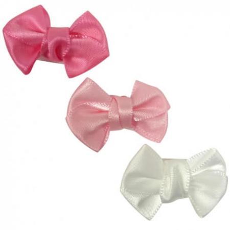 Klittenband Strikjes Wit/Roze | 6 Stuks