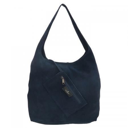 Charm London Brixton Suède Shopper met Etui Navy Blauw