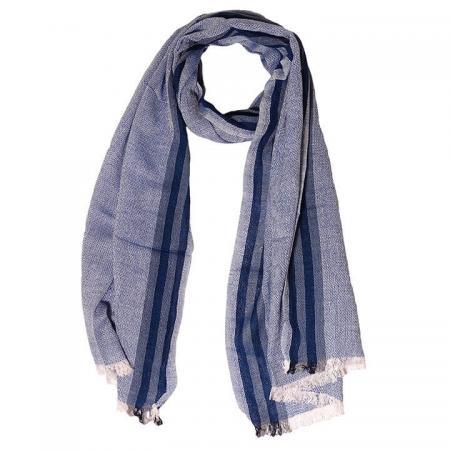 Daspartout Langwerpige Katoenen Sjaal Gemêleerd Jeans Blauw met Strepen