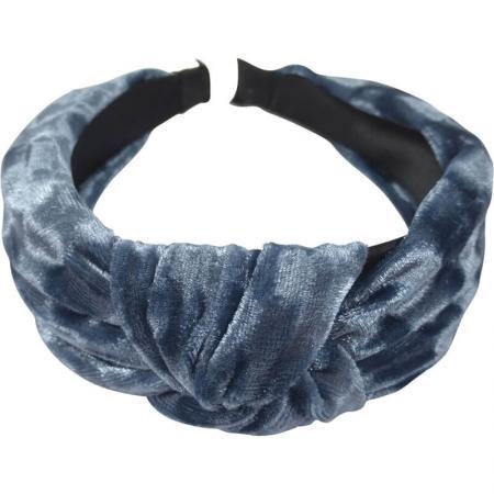 Velvet Diadeem Blauw met Knoop 4 cm