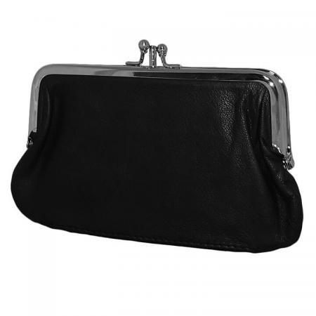 Leather Design Beugel Beursje Zwart