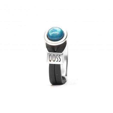 Qoss Zwarte Ring Gwen Zeeblauwe Bol