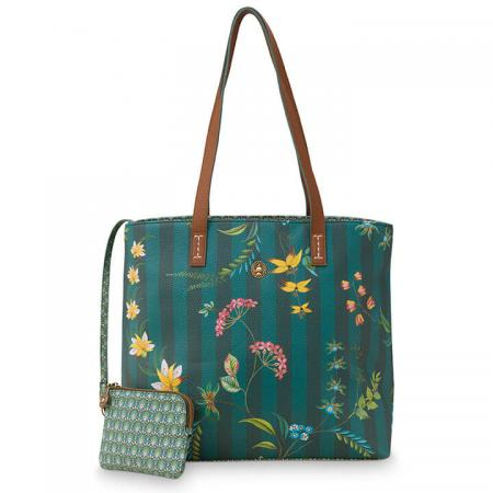 Pip Studio Shopper Medium met Etui Fleur Grandeur Green