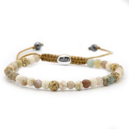 Karma Armband Spiral Pastels Gold Crystal