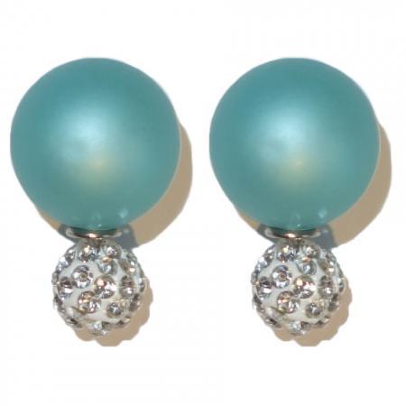 Dubbele Parel/Strass Oorbellen Turquoise